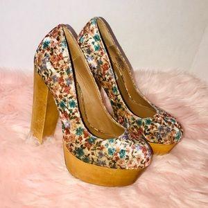 Steve Madden velvet floral platform heels